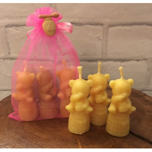 Bear on Skep Candles (Pack of 3)