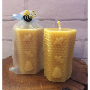 Hexagonal Honeycomb with Bees & Skep Candle (Large)